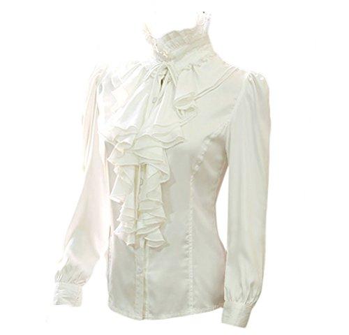 Nanxson Mujer Retro Encaje Mangas largas Camisa Blusa (XL, Beige)