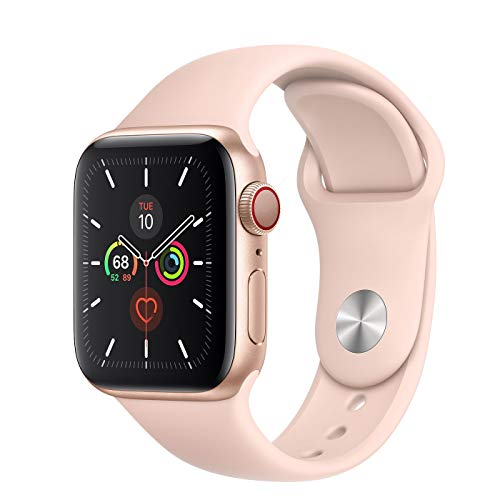 Apple Watch Series 5 GPS + Cellular - 40mm Gold Aluminum Case with Pink Sand Sport Band (Renewed)