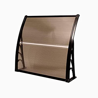 """Tangkula 40"""" X 40"""" Outdoor Window Awning with Polycarbonate Hollow Sheet, Modern Door Canopy for Patio Balcony, UV Rain Snow Sunlight Protection (Brown)"""