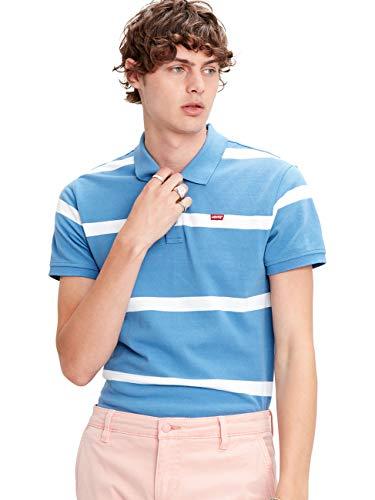 Levis Herren Poloshirt Standart HM Good Polo Blau Gestreift 100% Baumwolle S M L XL XXL, Größe:S, Farbe:Stripe Riverside/White (0029)