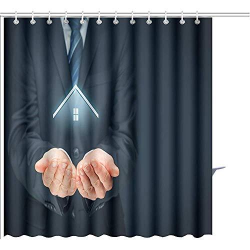D-M-L Duschvorhang Immobilienmakler Angebot Haus Sachversicherung Sicherheitskonzept Linke Zusammensetzung Grafik Polyester Badezimmer-Sets Mit Haken 122X183CM