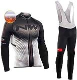 TIDH Completo Abbigliamento Ciclismo da Uomo, Uomo Invernale Maglia/Giacca Ciclismo Maniche Lunghe + Pantaloni da Ciclismo Lunghi con Cuscini Imbottiti 5D (M, Nw-RWT)