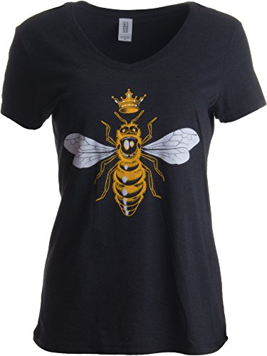 Queen Bee | Funny, Cute, Cool Boss Lady Crown Alpha Top, Women's V-Neck T-Shirt-(Vneck,L) Vintage Black
