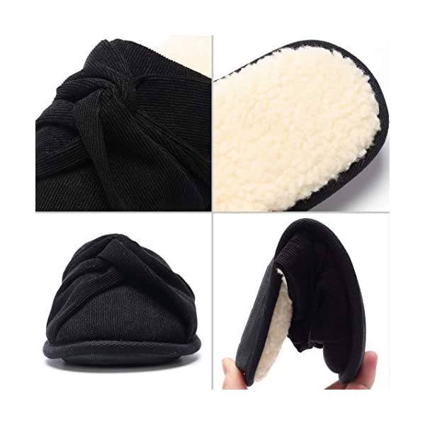 House Slippers for Women, Women's Cozy Fleece Lining Fuzzy Corduroy Memory Foam Soles, Indoor Furry Fluffy Wool Fur Slippers
