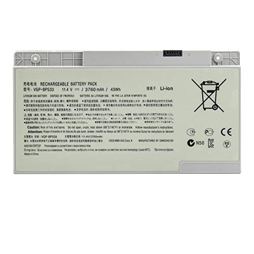 Amanda VGP-BPS33 Battery 11.1V 43WH/3760MAH Replacement for Sony VAIO SVT-14 SVT-15 T14 T15 Touchscreen Ultrabooks SVT15115CXS SVT15113CDS SVT1511ACXS