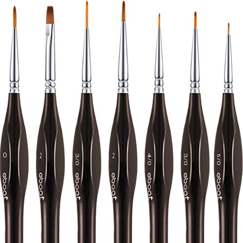 Detail Paint Brushes Set Artist Paint Brushes Painting Supplies for Art Watercolor Acrylics Oil, 7 Pieces (Brown 1)