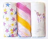 Unicorns, Rainbows and Stars 3-Pack Bamboo Muslin Swaddle Cloths