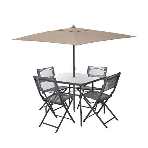Set tavolo con ombrellone e 4 sedie pieghevoli Nero