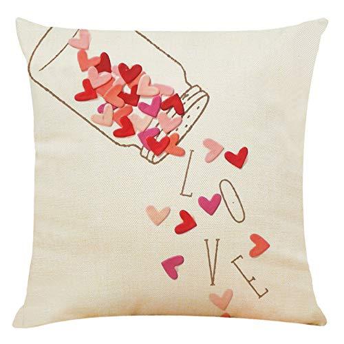 Sylar Happy Valentine's Day Throw Pillow Covers Funda de Almohada de Lino Funda de 18 x 18 Pulgadas Decoración del cojín del hogar