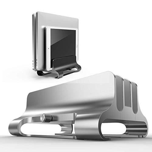 Vertical Laptop Stand Adjustable Laptop Holder Desk Universal with Adjustable Dock Size Computer Stand 3 Slot Compatible with Tablet Laptop,for Storing 2 Laptops and 1Tablet(Grey)
