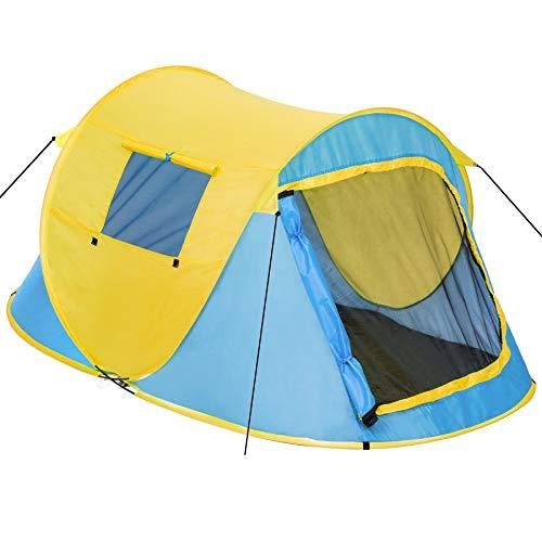 TecTake 800213 Pop-Up Wurfzelt für 2 Personen, Inkl. Spannseile, Heringe und Praktischer Tragetasche - Diverse Farben (Blau-Gelb | Nr. 401673)