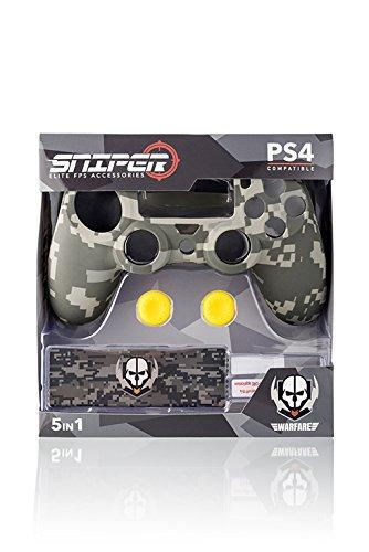 Indeca Sniper- Pack de 5 componentes para Playstation 4 - PS4  (incluye Silicona para mando)