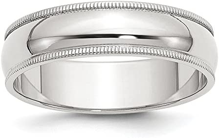 Solid 925 Sterling Silver 6mm Plain Classic Dome Milgrain Wedding Band Ring Size 10 product image