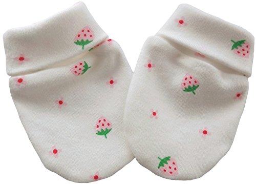 100% Coton tricot tissu nouveau-né anti-rayures moufles mitaines gants bébé, fraises multicolores (0-3 mois)