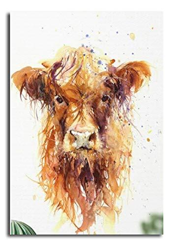 Shukqueen DIY pintura por números para adultos DIY Kit de pintura al óleo para niños principiantes – Vaca amarilla