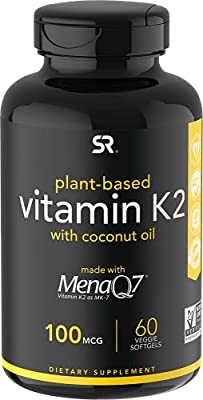 Vitamin K2 (MK7) with Coconut Oil and made with MenaQ7, 100mcg, 60 Veggie Liquid Softgels