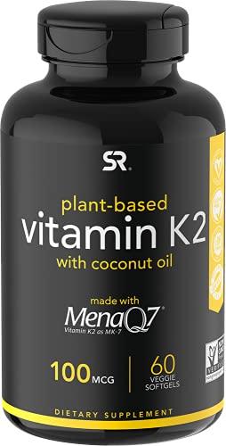Vitamin K2 (als MK7) mit Bio-Kokosöl | Hergestellt mit MenaQ7 aus fermentierter Kichererbse | GMO verifiziert, vegan zertifiziert (60 Veggie-Softgels)