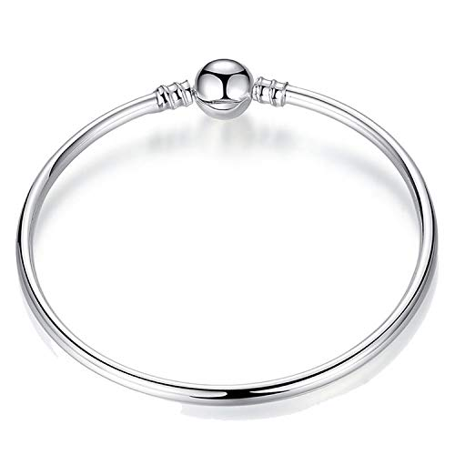 Pulsera Brazalete, Joyeria Regalo, New Hot Silver Plated Basic Snake Chain Bracelet DIY Charm Bead Jewelry Not Fade Original Pan Bracelets & Bangles Bracelet Bangle 18CM (7.1 Inch)