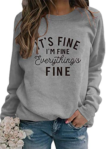 It's Fine I'm Fine Everything is Fine Tank Tops Womens Funny Graphic Tank Tee Vintage Tshirts Dark Gray