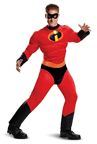 Disguise Men's Mr. Incredible Classic Muscle Adult Costume, red, XL (42-46)