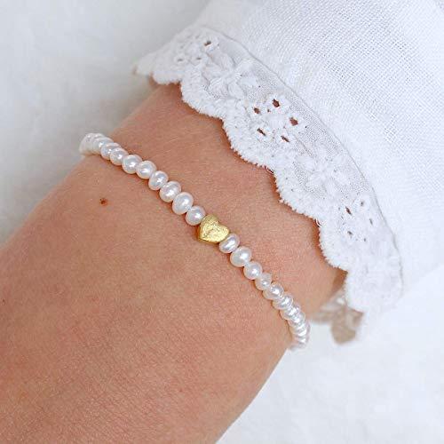 Armband Damen Geschenk für Trauzeugin oder Braut aus echten Zuchtperlen mit Herz, 925er Silber und vergoldet