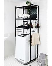 [山善] ランドリーラック (2口コンセント付き) 幅65.5-90.5×奥行40.5×高さ180/185/190cm 後から設置できる ミニバスケット・S字フック・ワイヤーネット付き 洗濯機 ラック 組立品 ナチュラル/ホワイト EAL-90(BK/BK2)