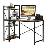 VECELO Computer Desk with Shelves 47 Inch Multipurpose Corner Study Writing Table with Storage Bookshelf, Dark Brown