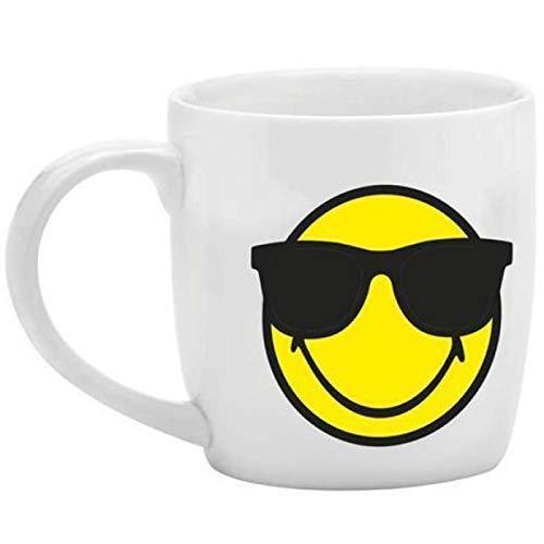 zak! Espresso-Tasse Smiley-Sonnenbriller 75ml in weiß, Porzellan, 5 x 5.4 x 6 cm