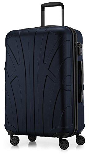 Suitline Hartschalen-Koffer Koffer Trolley Rollkoffer Reisekoffer, TSA, 66 cm, ca. 58 Liter, 100{182d8495962a5fa4135c85f09c68c2c0fdaa6a6b7b233fe83e7ee803c3bdf39f} ABS Matt, Dunkelblau