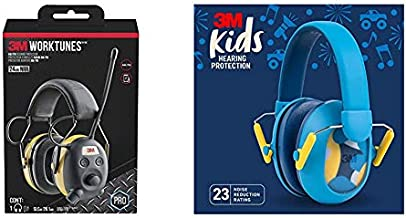 3M WorkTunes AM/FM Hearing Protection & 3M Kids Hearing Protection Plus, Blue