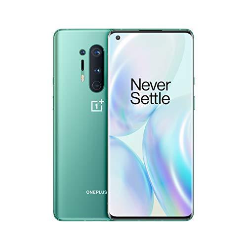 "OnePlus 8 Pro Smartphone Glacial Green 6.78"" 3D Fluid AMOLED Display 120Hz, 12 GB RAM + 256 GB Memoria, Fotocamera Quadrupla, Ricarica Wireless Veloce, Dual Sim, 5G"