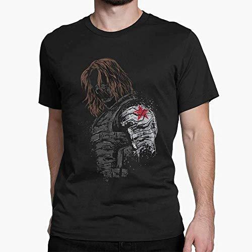 Camiseta Longline Unissex Algodão Buck Soldado Invernal Capitão América Marvel Tumblr (Preto, XG)