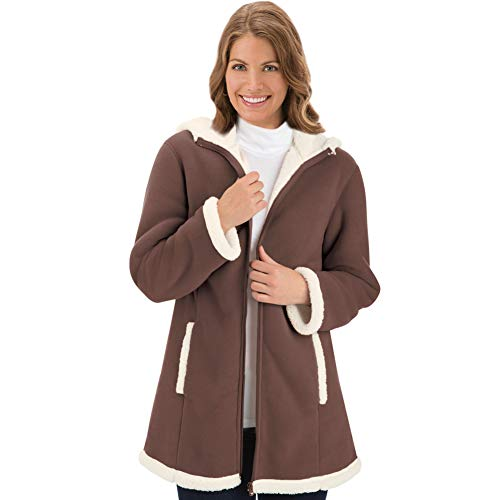 Collections Etc Women's Polar Fleece Sherpa Lined Zip Up Coat CHOCOLATE X-LARGE