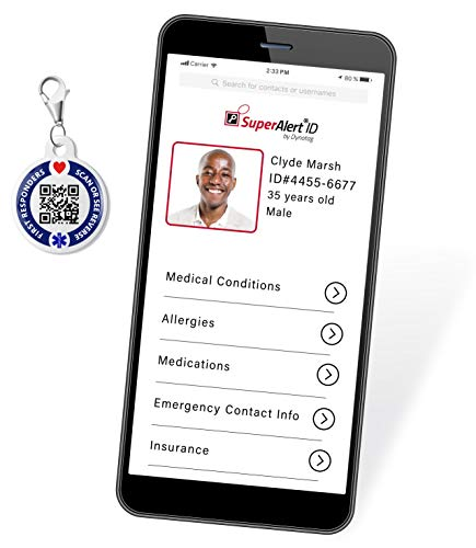 Dynotag Web Enabled Smart Medical ID/Emergency Information Charm Bracelet...
