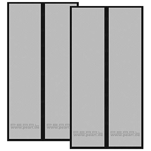 PEARL Fliegengitter Balkontür: 2er-Set selbstschließende Fliegennetze für Türen mit 82-86 cm (Fliegengitter Magnetvorhang)