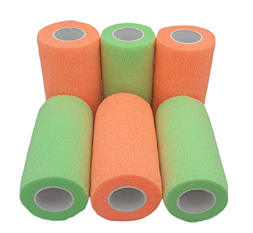PintoMed Bendaggio Coesivo - 3 Arancione + 3 Verde Neon - garza elastica - 6 rotoli x 10 cm x 4,5 m autoadesiva flessibile bende, primo soccorso - Wrap Cohesive Bandage - Confezione da 6