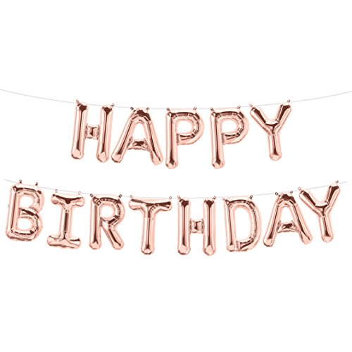ballonfritz® Luftballon Happy Birthday -Schriftzug in Rosegold - XXL Folienballon als Geburtstags Deko, Begrüßung, Party Geschenk oder Fotorequisite