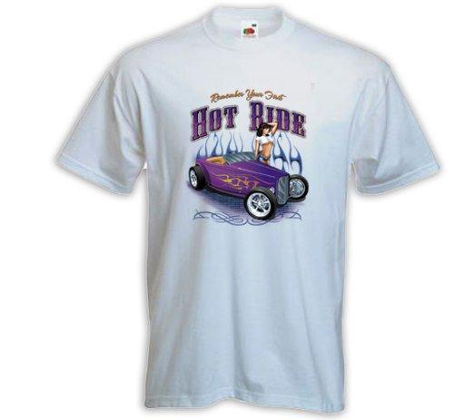 Hot Rod T-Shirt Hot Ride weiß US Car Rockabilly Tattoo Pinup Zündkerze Gr. XXXL