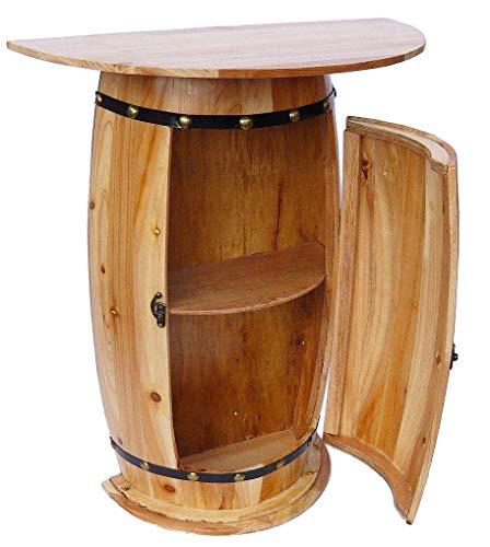 DanDiBo Wandtisch Tisch Weinfass 0373 Schrank Weinregal Fass aus Holz 73 cm Beistelltisch Konsole Wandkonsole Bar