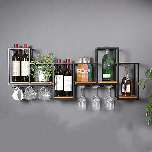 Floating Shelves Wandhalterung Hängende Weinschränke Brillenhalter, Einfache Installation Kreative Bar Display Stand Lagerregale,für Küche Esszimmer Weinkeller