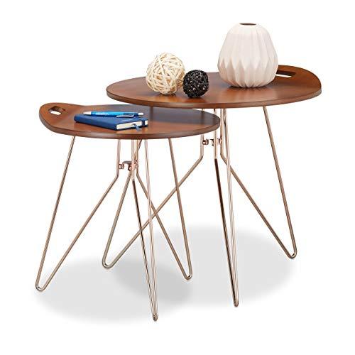 Relaxdays Bijzettafelset van 2, hout, metalen frame, retro design (walnoot), salontafel hout, moderne look, bruin