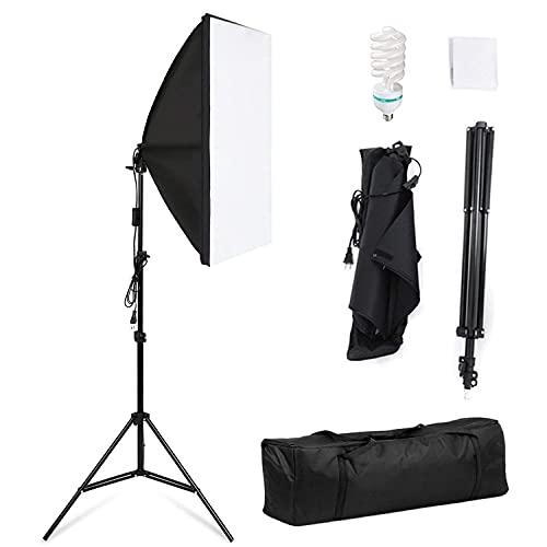Softbox, Kit Iluminacion Fotografia 50x70 cm, 135W 5500K Bombilla, Softbox Kit con Trípode Plegable y Bolsa de Transporte, para Fotografía de Moda, Retrato, Productos Comerciales y Video