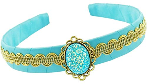Little Pretends Jasmine Aladdin Costume Accessory Set for Children Girls - Headband Crown and Bracelet Jewelry (Headband) Blue