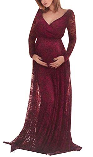 Foluton Schwangerschafts Kleid Spiztenkleid V-Ausschnitt Langarm Maxi Partykleid Elegant Damen Mama...