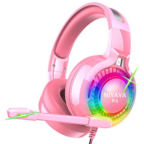 Nivava Gaming Headset for PS4, Xbox One, PC Headphones with Microphone LED Light Mic for Nintendo Switch Playstation Computer, K6(Pink)