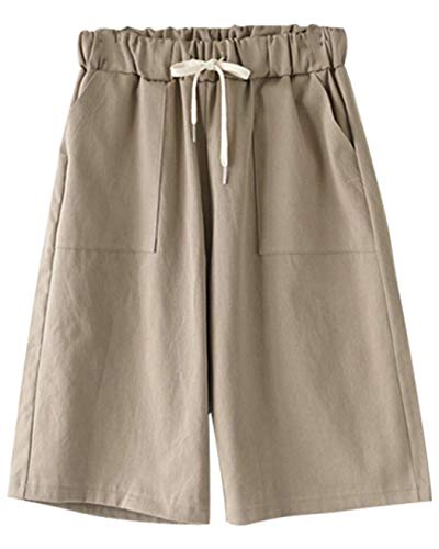 VtuAOL Women's Comfy Cotton Linen Shorts Elastic Waist Bermuda Shorts with Drawstring Khaki Asian 5XL/US XL