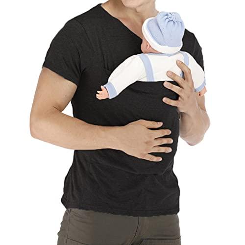 WW Kangaroo Dad T-Shirts Short Sleeve Baby Carrier Big Pocket Baby Care Nursing Blouse Black,M