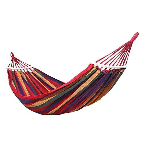 Camping hangmat Outdoor patio rollover canvas hangmat met een houten stok enkel dubbel camping draagbare hangmat swing (Color : Red, Size : 190 * 150)