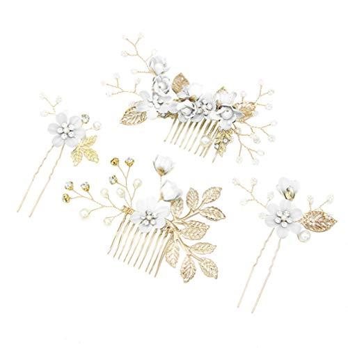 STOBOK 4 Stück Gold Hochzeit Haarkamm Perle Blume Braut Haarschmuck Strass Brautschmuck Kamm Haarspange für die Braut Brautjungfer - Weiße Blume