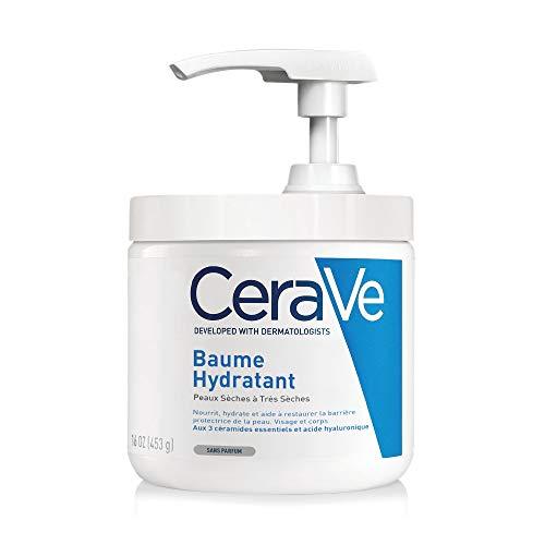 CeraVe Baume Hydratant | Pot Pompe 454g | Crème Hydratante 48h Corps, Visage, Mains à l'Acide Hyaluronique pour Peaux Sèches à Très Sèches